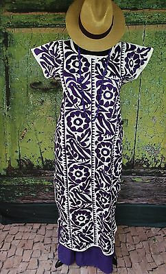 Dark Purple & Cream Cotton Hand Embroidery Huipil Dress, Jalapa Mexican Santa Fe