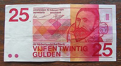 Vtg 1971 Netherlands Dutch Holland 25 Gulden Guilders Currency Note - Amsterdam