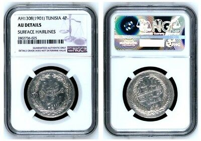 FR. Tunisia French Protection AH1308 (1901) Silver 4 Piaster Ali Bey NGC AU