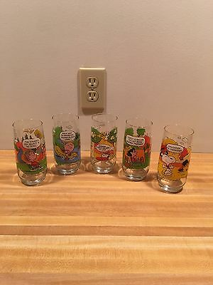 Vintage McDonald's Camp Snoopy Glasses Collection Set of 5 Peanuts