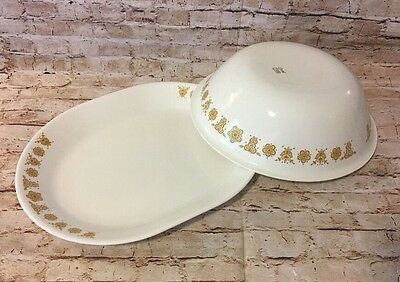 """Pair Of Vintage Corelle Large 10"""" Bowl And 12.5"""" Tray In Butterfly Gold (BinZ)"""