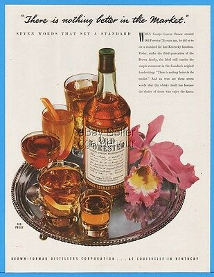 1948 Old Forester Whisky Brown Forman Louisville KY Orchid Mixed Drinks Ad