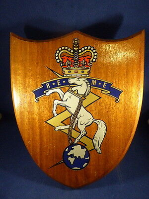 "Royal Electrical & Mechanical Engineers ""Reme"" Large Wooden Shield Desk Plaque"