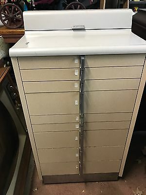 Vtg Hamilton American Dental Parts Cabinet 9 Drawers Mid Century Metal w Casters