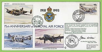 Belize 1993 75th Anniversary RAF flown & signed cover, 27 Sqn. RAF(75) 17