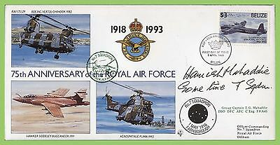 Belize 1993 75th Anniversary RAF flown & signed cover, 7 Sqn. RAF(75) 29