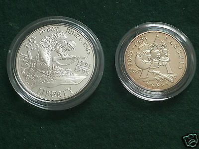 USA - 1995  WORLD WAR II 50th Anniversary 2 Coin Silver Proof Set.Boxed with COA