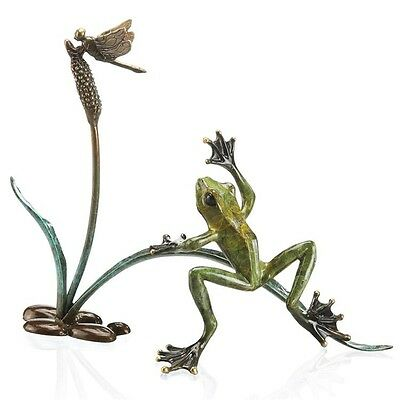 Rainforest Frog with Dragonfly Sculpture/Statue -Brass Figurine,8''H