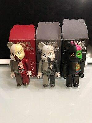 Lot Des 3 Bearbrick 100 % Kaws Dissected With Box Brown Grey Black Originalfake