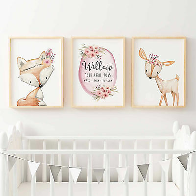 Nursery Prints Baby, Girls Floral Woodland Birth Print, Fox, Deer, Print Set