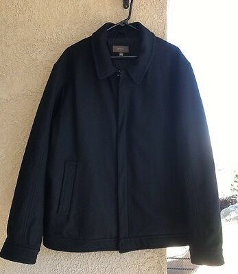 Men's Merona Black  Wool Jacket Size Xl Rayon Quilted Lining