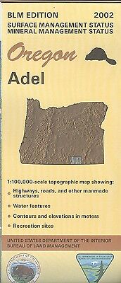 USGS BLM edition topographic map ADEL Oregon 2002 surface + mineral
