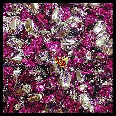 Pink And Silver Lollies Shiny Wrapped Eclairs Hazelnut Flavour 1Kg Bulk Bag
