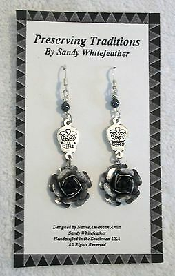 Native American Day of Dead Earrings Hemite Beads  Sterling Silver Beads & Wires