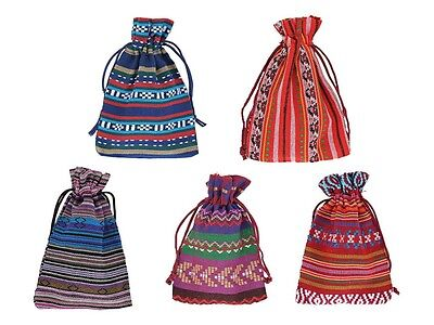 5Pcs 10x14cm Bunt Tribal Tribe Drawstring Jewelry Gift Bags Pouches Kashiwall