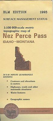 USGS BLM edition topographic map Idaho NEZ PERCE PASS 1993  Montana