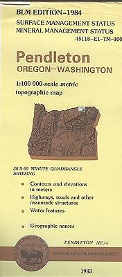 USGS BLM edition topographic map Oregon Washington PENDLETON 1984 mineral