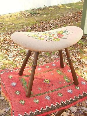 Antique Victorian Floral Needlepoint Covered Walnut Ottoman or Foot Stool