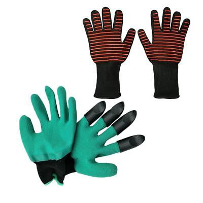1 Pair Garden Gloves with 4 ABS Plastic Claws + Oven Baking Gloves Holder