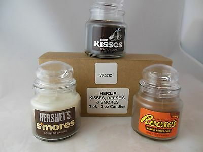 3 - 3 Oz. Hershey's Smores, Kisses, & Reese's Candy Candles
