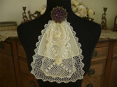 ELEGANT LAYERED HANDMADE Antique Vtg IRISH CROCHET LACE JABOT COLLAR DRESS FRONT