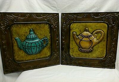 Metal Wall Teapot coffee wall art kitchen Dining Decor Home teal brown tan