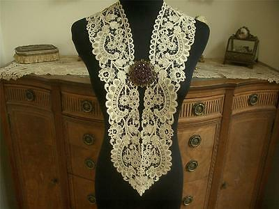 REFINED LG HANDMADE Antique Vtg BELGIAN BRUGGE BOBBIN LACE COLLAR DRESS FRONT