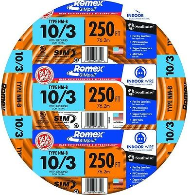 Romex 250 Ft 10/3 Solid SIMpull NM-B W/G Wire Indoor Electrical Building New