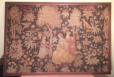 HUGE 5 foot antique 1700's handmade embroidered figural needlepoint tapestry art