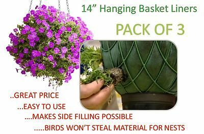 14 inch Hanging Basket Liners (3 Pack) - Easy to use Liner - Just Cut to Size