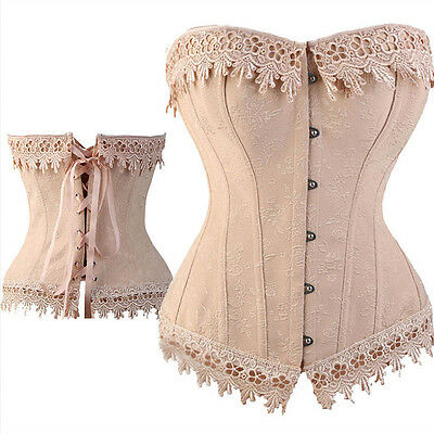 Overbust corset size 8-10 beautiful creamy pink jacquard with lace trim