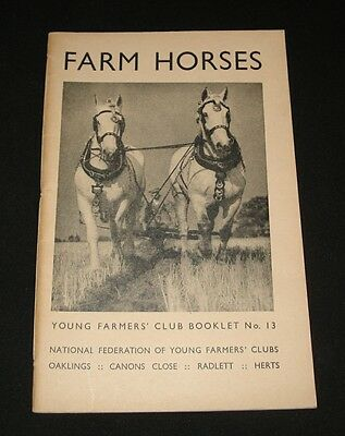 VINTAGE 1943 YOUNG FARMERS CLUB BOOKLET # 13 ~  FARM HORSES Clydesdales etc