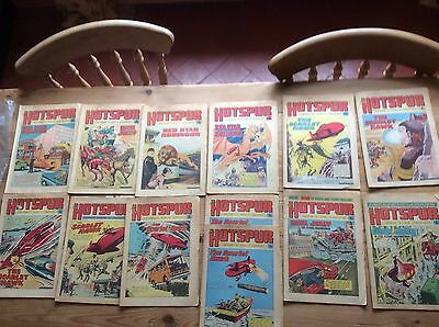 THE HOTSPUR Comic - 12 Issues Dated 1972 - 1974 - UK Paper Comic + 1 Copy Double
