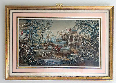 Framed Mid 19th Century French Painting - Asian Gardens