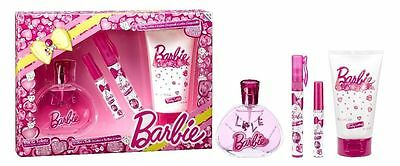 Barbie Geschenkset, EDT 100ml, Body Lotion 150ml, Parfüm Pen, Lip Gloss, Neu