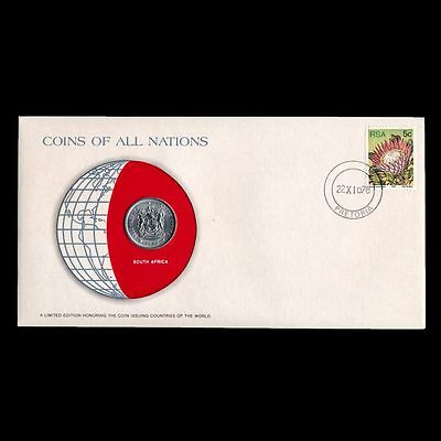 South Africa 20 Cents 1978 Fdc Unc Coins Of All Nations Uncirculated Stamp Cover