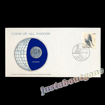 San Marino 10 Lire 1974 Fdc ─ Coins Of All Nations Uncirculated Stamp Cover Unc