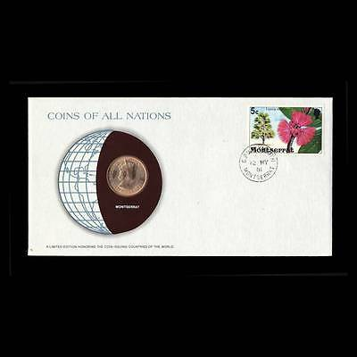 Montserrat 1 Cent 1965 Fdc Unc ─ Coins Of All Nations Uncirculated Stamp Cover