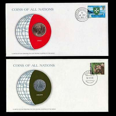 Jersey And Zimbabwe Fdc Unc Coins Of All Nations Uncirculated Stamp Cover
