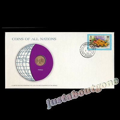Tuvalu 1 Cent 1976 Fdc ─ Coins Of All Nations Uncirculated Cover Unc