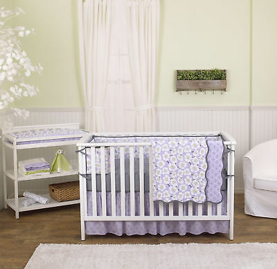 Lavender Purple Poppy Floral 5 Piece Crib Bedding Set with Bumper by Balboa Baby