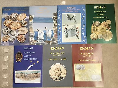 7 World Coins Auction Catalogs - Ekman - Rare Finnish Coin Dealer 2000-2006
