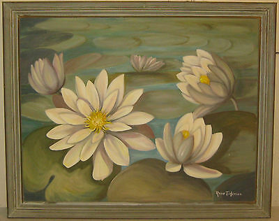 Vintage '56 ROSE TIDEMAN To a WATERLILY' Oil Painting - FRAMINGHAM Listed Artist