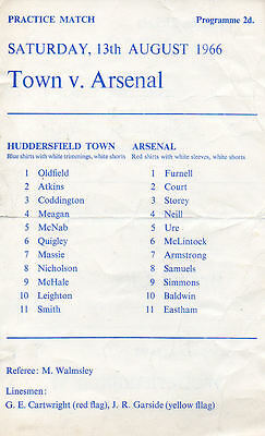 Huddersfield Town v Arsenal 13/8/1966 Friendly