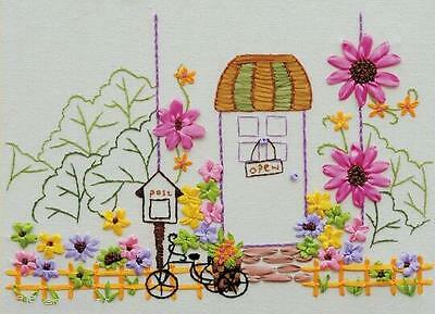 Ribbon Embroidery Kit Beautiful Front Garden Floral Needlework Craft Kit RE6014
