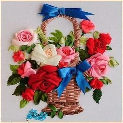 Ribbon Embroidery Kit A Basket of Flowers to Best Friend Craft Kit RE6015