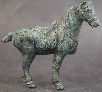 Vintage Chinese Export Green Verdigris Cast Bronze Saddled Tang Horse Sculpture