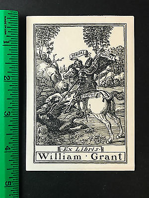 William Grant Knight stabbing Serpent Signed?  EX-Libris Bookplate