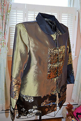 Asian Style Lined Jacket, dress it up or down,  Sildip Fashion, Women's XL light