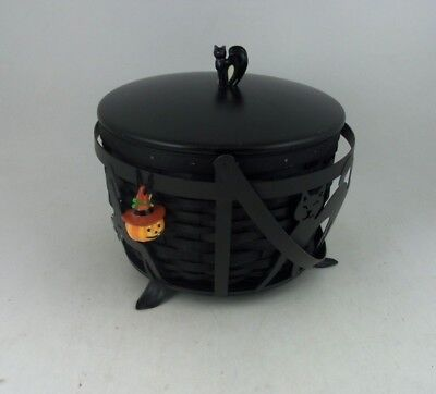 Longaberger 2009 Halloween Large Cauldron Basket Combo w Lid Wrought Iron stand